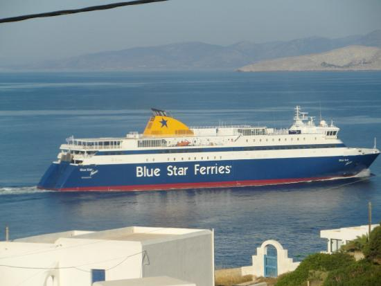 Markouli Studios: View from the room of the Blue Star Ferry heading for Naxos