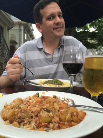 I loved the Peruvian quinoa stew; my husband enjoyed the pesto pasta too.