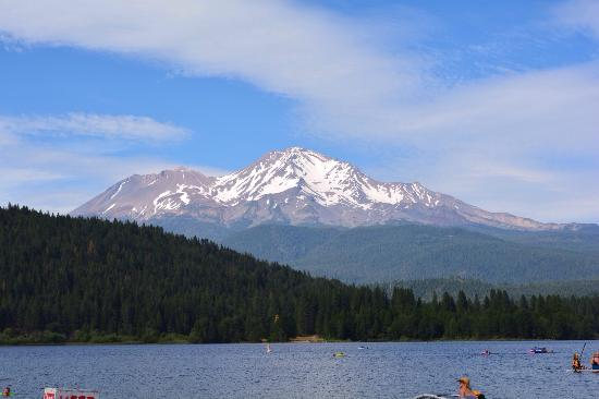 Lake Siskiyou Camp - Resort: View of mountain from beach area