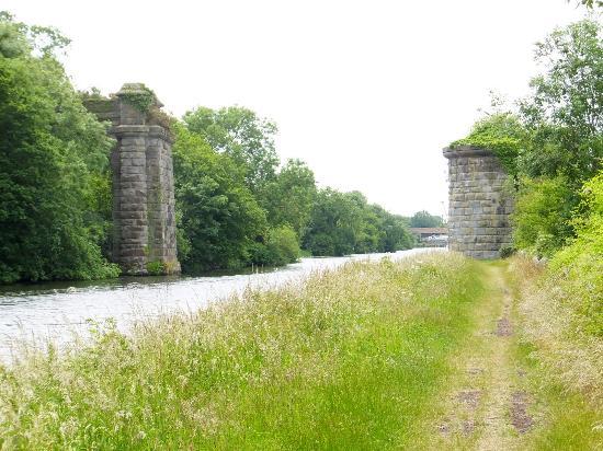Purton Ships Graveyard: The Old Pillars of the railway bridge that crosses the River Severn.