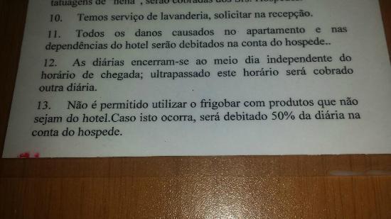 Hotel Pousada Ancoradouro: Multa por usar o frigobar