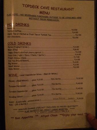 Topdeck Cave Restaurant: Menu