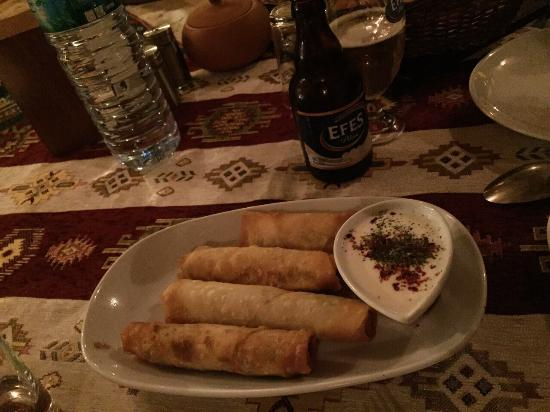 Topdeck Cave Restaurant: Sigara borek, turkish pastry with onion and chicken and yogurt dip. Really good!  7TL (around 2.