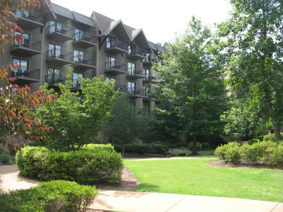View from the pool entrance back toward the hotel for The lodge and spa at callaway gardens