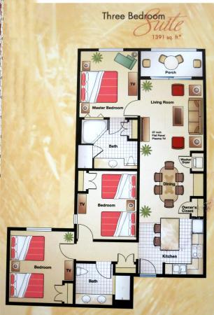 Floor plan of the three bedroom villa.