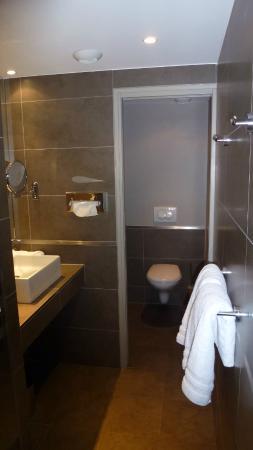 Hotel De France: Porte Coulissante Pour Les Toilettes Dans La Salle De Bain