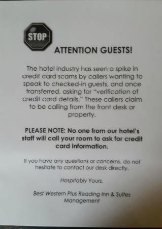 BEST WESTERN PLUS Reading Inn & Suites: Credit Card Scam Warning