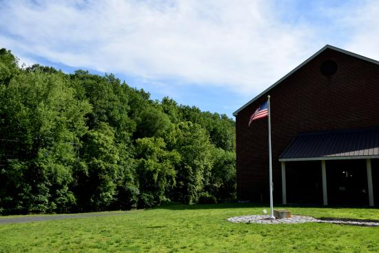 National Canal Museum: And high above the mountains and greenery, Old Glory proudly waves