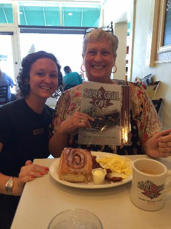 The Silver Grill Cafe: Megan - the excellent waitress - and me with our Short Cut meal