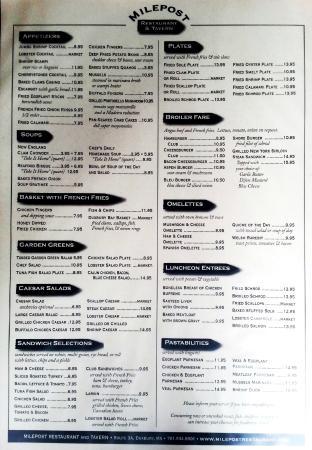 Milepost Tavern Restaurant : menu with lots of variety