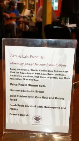 Arts & Eats Restaurant and Gallery: Fixed menus for Monday Jazz