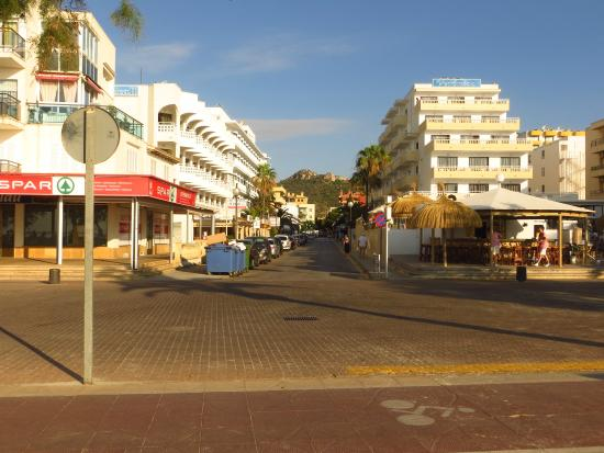 View from the beach. Biniamar is 3 min walk on the left side of the street.