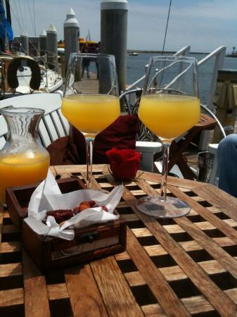Corks Away Wine Cruises: Mimosas and a treasure chest of dried fruit and nuts.
