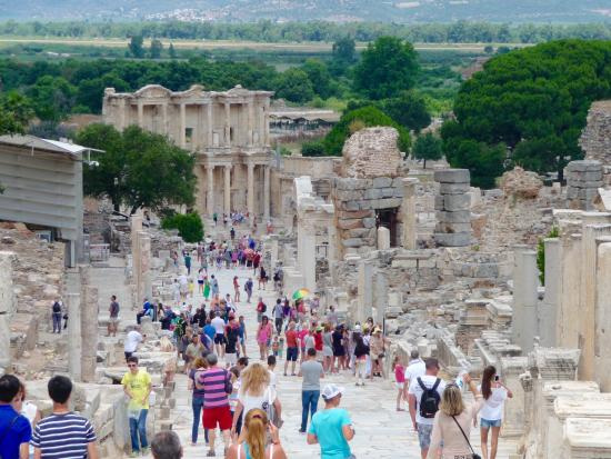 Best Ephesus Day Tours: The Celcus Library from halfway down the hill