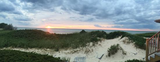 Linger Longer By The Sea: Sunset view from our back deck overlooking the dunes