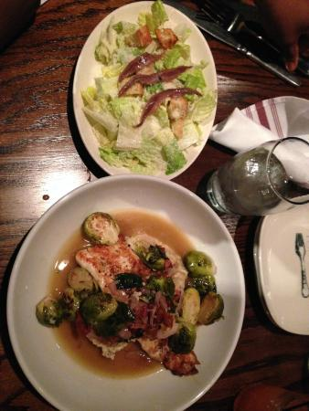 Rosebud: caesar salad and farm trout (mustard whipped potatoes and brussels sprouts)