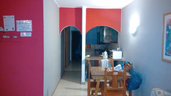 Hotel Lanza Teneguia: Kitchen leading to bedrooms and bathroom