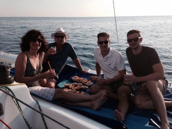 Silentbay Charter: Our Australian family enjoying the sunset cruise.