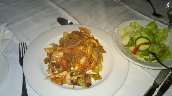 Gaborone Sun: Stir fry with seafood and salad!