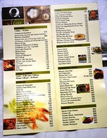 Pagoda Resorts Alleppey: menu card