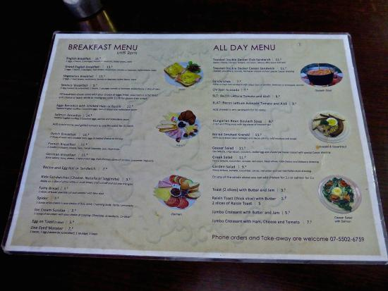 The Old Danube European Cake & Coffee Shop: Breakfast & All Day Menu