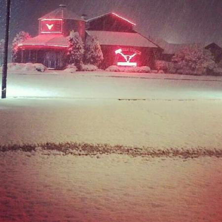 Moulton, AL: The Steak House covered in snow