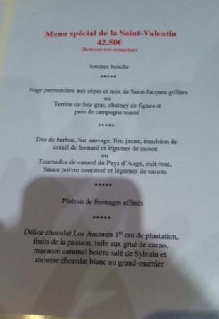 Carte Menu Cafe Paris Cherbourg