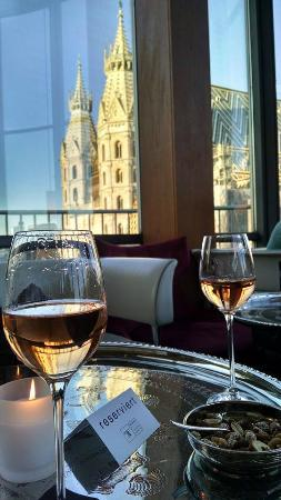 Glass of rose and view of St. Stephan's