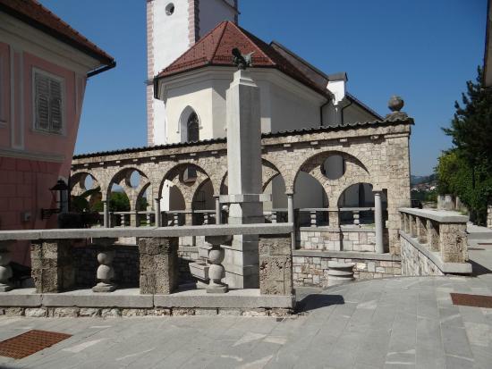 Plecnik's arcade and fountain