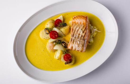 SALMON Marinated Fennel, Saffron Mussel Sauce - Picture of ...