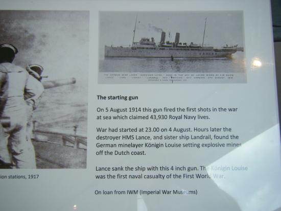 National Museum of the Royal Navy: information panel - sinking of the first enemy ship in WW1