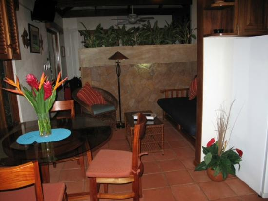 Casa Cook : View of the room.  The bed is behind the brick wall.  Full kitchen to the right.