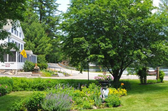 Madison, NH: The gardens around Traditions and view out towards Purity Lake