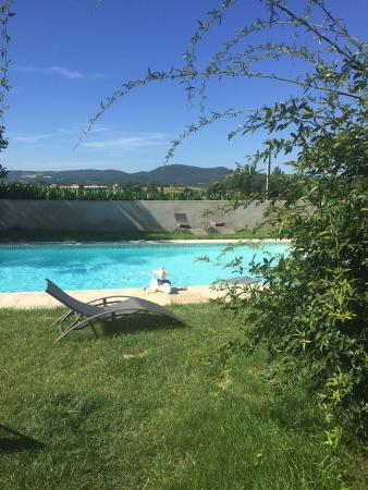 La Demeure du Mokuso : The pool with corn fields and mountains beyond