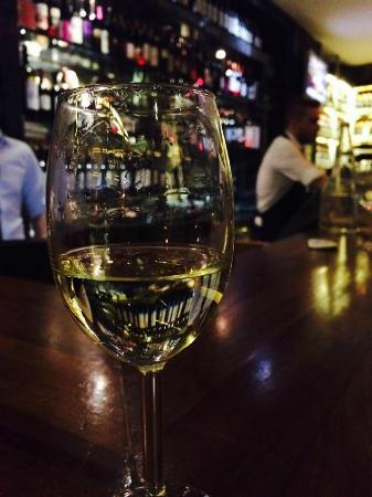 A lonely glass of white at Sensus