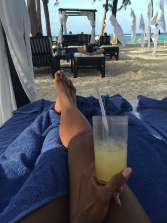 Tasty drink and cabana view