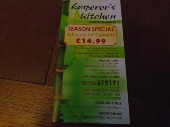 Emperor S Kitchen Swindon Menu
