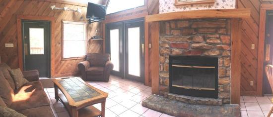 Burdette Park : Chalet Living Room With Fireplace