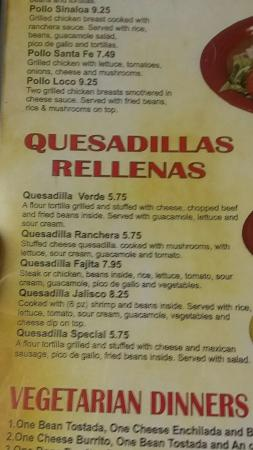 Menu Picture Of Tequila Jalisco Mexican Restaurant Knob