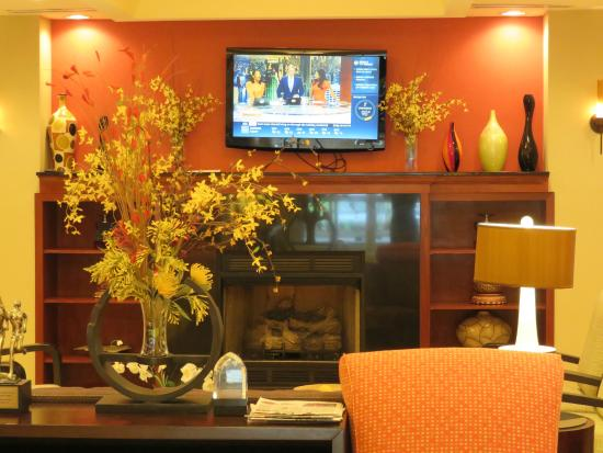 Holiday Inn Express & Suites Spartanburg North: Lobby fireplace