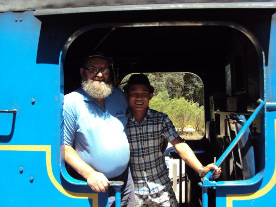 Zig Zag Railway: The verteran train driver with a visitor