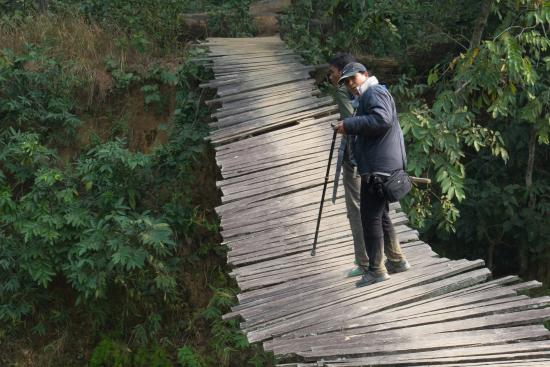 Bardia National Park, Nepal: a women walking through the dangerous bridge in the national park