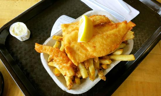 Montgomery's Fish & Chips: Fish and chips with tartare sauce.