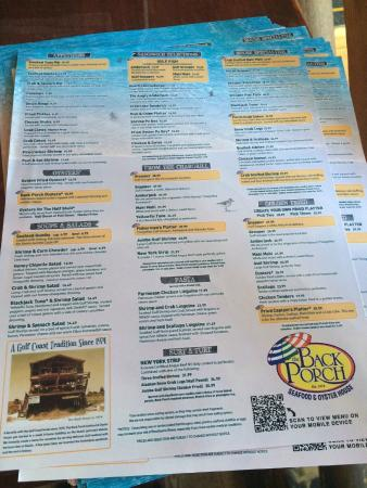 The Back Porch Menu Panama City Beach
