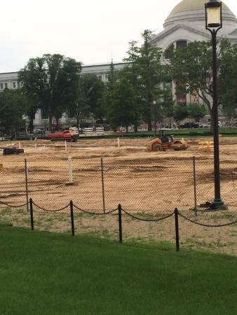 National mall by smithsonian castle is under renovation