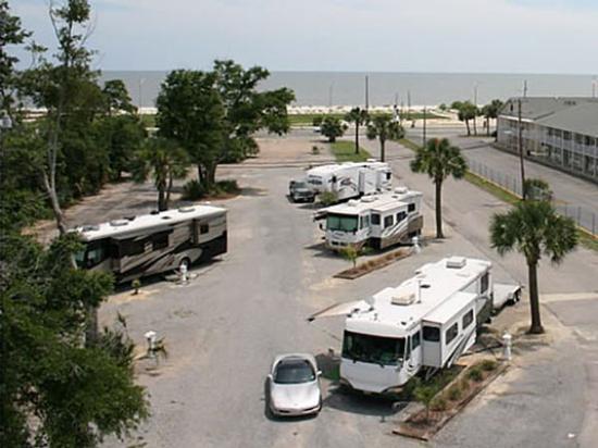 Cajun RV Park : Pull-Thru sites across from white sand beaches