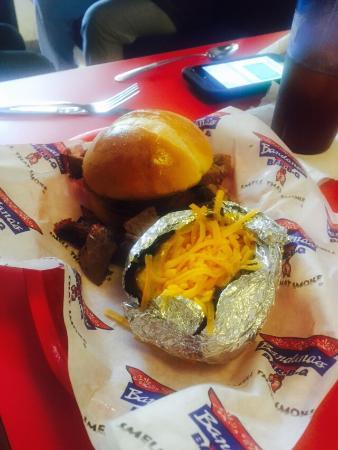 Bandana's: Beef brisket sandwich with baked potato