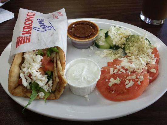 Melita's Greek Cafe and Market: Chicken gyro pita wrap with village salad and Greek latte frappe