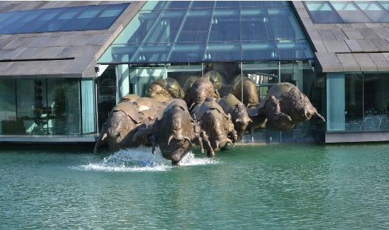 Fuschl am See, Austria: Powerfull charge of sculpted bulls at Fuschl