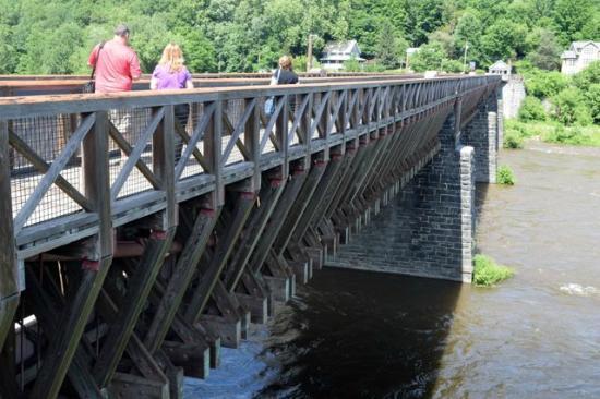 Roebling Aqueduct Suspension Bridge: Pedestrian walk on the south side.